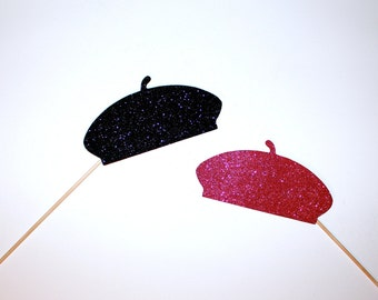 Parisian Photo Booth Props - 2 Glitter Beret's