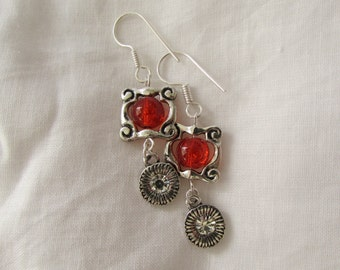 Orange Framed Drop Earrings (E32)
