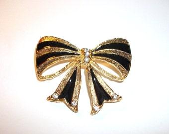 Vintage Gold-tone and Black Enamel Ribbon Bow Brooch/Pin