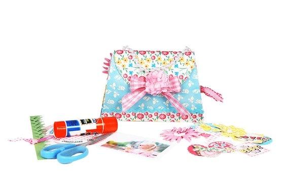 Girls Princess purse brag book kit / DIY scrapbook mini album kit / craft kit / pink blue yellow green / Fujifilm Instax photo album