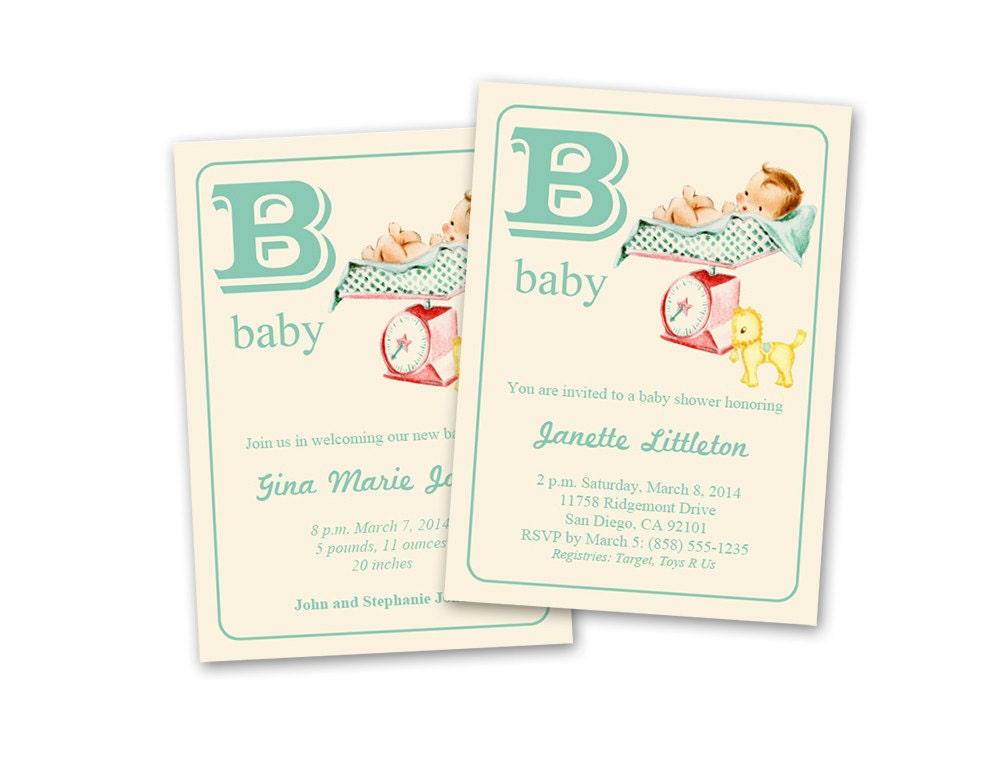 Kathryn Balint Digital DIY Vintage Baby Shower Invitation Baby – Vintage Birth Announcement
