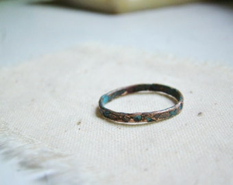 Hammered Ring copper jewelry , gift for her, hammered metal rustic ring organic jewelry