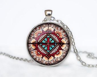 Vintage church stained glass window Abstract necklace pendant jewelry
