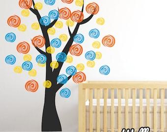 Multi Coloured Nursery Swirl Tree Wall Decal Childrens Sticker