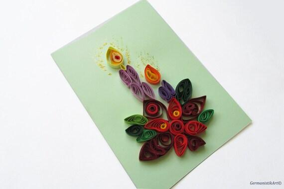 Biglietti Auguri Matrimonio Quilling : Blank merry christmas greeting card quilled candle