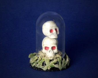 "Miniature Glass Dome ""Skulls"" for Your Dollhouse"