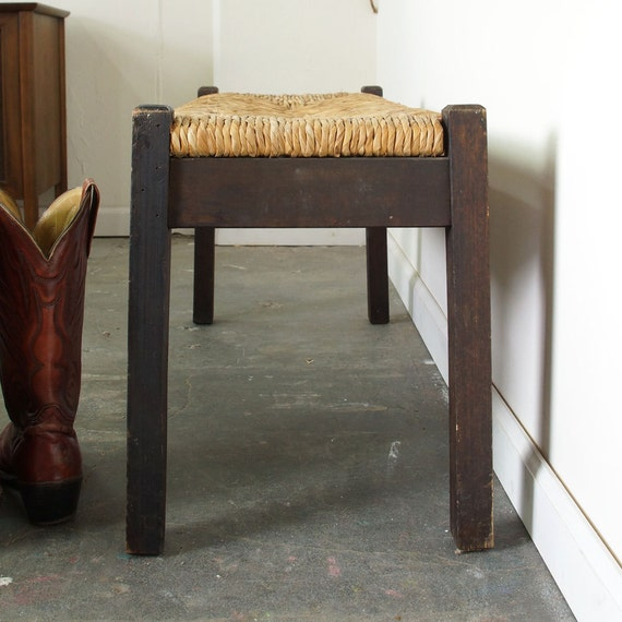 Primitive Wooden Bench With Rush Seat