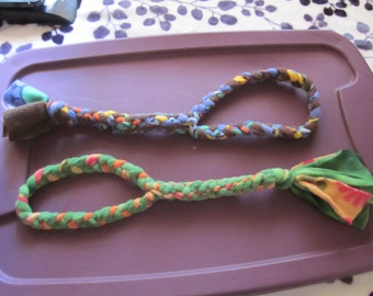 Handmade dog looped fleece tug toy, lots of colors - great for dogs who LOVE playing tug of war!
