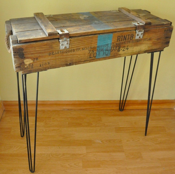 Box Console Table ~ Vintage us military wooden ammo box console table with hairpin