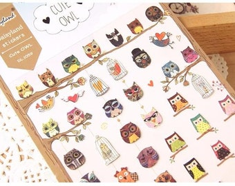 45 pieces watercolor cartoon owl stickers mini owl baby owl cute owl lovely bird colorful bird label birthday gift card OOAK special card