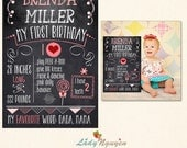 INSTANT DOWNLOAD - 6x9 First Birthday Chalk Board Printable Sign Prop - Photoshop Template - CB1