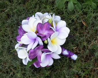 Purple Frangipani Plumeria Bride Posy Bouquet Real-Touch Destination Wedding