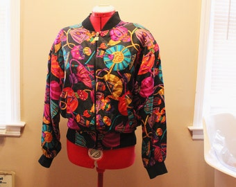 SALE! - 80s Silk Petite Sophisticate Colorful Pattern Jacket