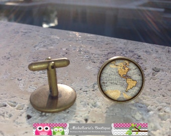 Ancient Map Cufflinks, Map Cufflinks, Vintage Cufflinks, world map cufflinks, Bronze Cuff Links, Bronze Gifts for Him