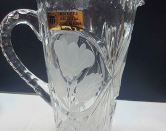 Stunning Vintage German Lead Cut Crystal Pitcher, 24% PbO, Tritschler Winterhalder