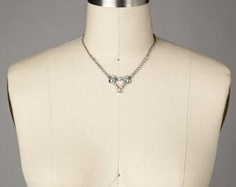 Vintage 1950s Rhinestone & Sky Blue Jeweled Necklace • Revival Vintage Boutique