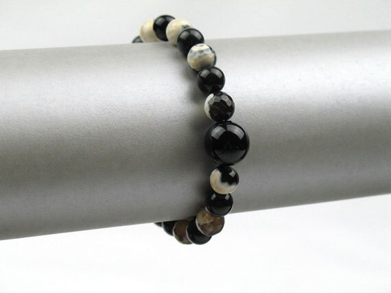 Bead Bracelet in Black Stone with Obsidian, Agate and Glass / Unisex Arm Candy / Artisan Jewelry / Gift for Her or Him