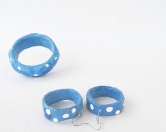 papier mache,jewelry set,free shipping,hoop earrings,bangle bracelet,navy,blue,white,polka dots,paper jewelry,girlfriend gift,summer jewelry