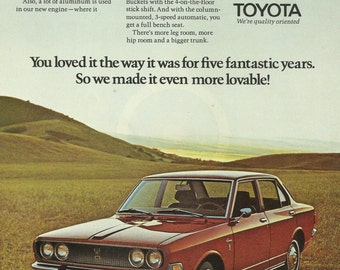 Toyota Corona Automobile Original 1970 Vintage Print Ad Color Photo Red Car Four Door Economy Auto