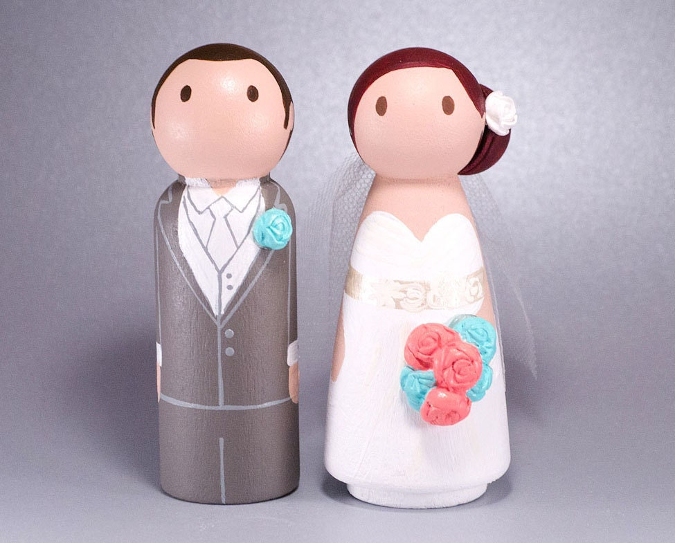 Cake Toppers And Accessories : Wedding Wooden Peg Doll Cake Topper with 3D Accessories