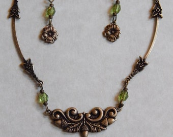 """Necklace and Earrings Set 18"""" Green Crystal brass flower and acorn filigree  #205"""