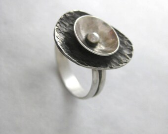 Abstract Silver Ring Nested Layers in Sterling