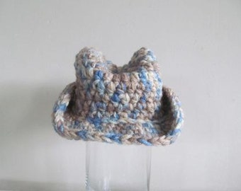 Blue Camo Hand Crocheted Baby Cowboy Hat -NEW DESIGN