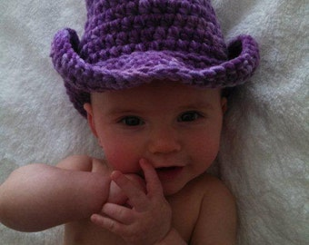Purple Camo Hand Crocheted Baby Cowgirl Boots and Hat Made to Order- NEW DESIGN