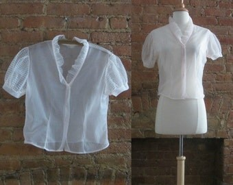 1950s blush pink sheer nylon blouse | 50's Classic Mid Century