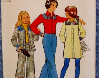 Vintage 1970s Chubbies Dress or Shirt and Wide-Leg Pants  Sizes 8 1/2 & 10 1/2 Sewing Pattern Simplicity 6590