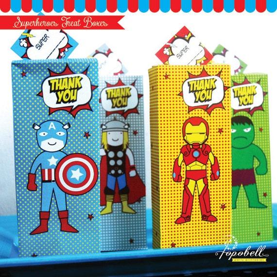 superhero favor box printable for superhero baby shower digital