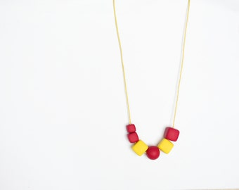 Polymer clay necklace Beadwork necklace Simple necklace Geometric necklace Yellow Metal free Cube necklace Cherry red necklace Minimalist