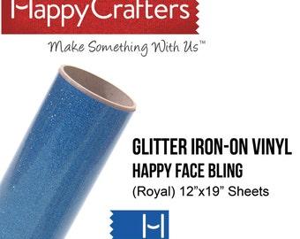 "Iron On Glitter Vinyl (Deep Lake) 12"" x 19"" Sheet"