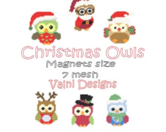 Christmas Owls-Magnets-6 patterns (PDF, Instant Download, Plastic Canvas Pattern, 7 mesh)