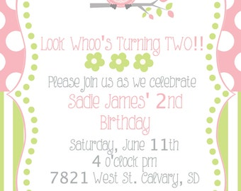 Pink and Green Owl Girl's Birthday Invitation