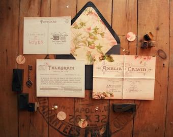 Romantic Wedding Invitation Suite - Printable Vintage Wedding Invites - Rustic Wedding Invites with Woodsy Envelopes - Amelia