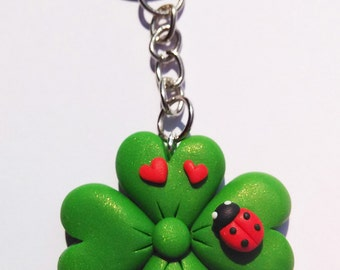Four-leaf clover with Ladybug Keychain in polymer clay-polymer clay