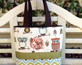 Woodland Owls/ Chevron Diaper Bag- Custom Made to Order