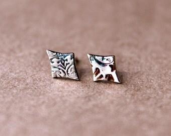 Fine Silver Diamond Post Earrings - Silver Stud - Handcrafted - Fine - Earrings