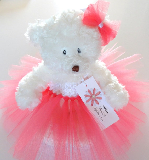 Coral Princess Tutu Teddy Bear Girls Gift Flower Girl Gift