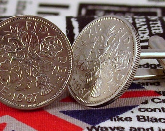 Boxed Pair Vintage British 1967 Lucky Sixpence Six Penny Coin Cufflinks Wedding 50th Birthday Anniversary