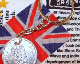 1963 Old English Shilling Coin Keyring Key Chain Fob Queen Elizabeth