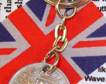 1950 Old English Shilling Coin Keyring Key Chain Fob King George VI