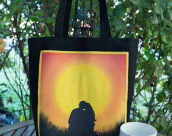 Sunset Hand painted 100% cotton canvas tote-moon/sunset
