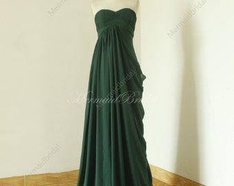 Dark green a line Prom Dress/ Evening Gown/ Full-length party dress with elegant pleated sweetheart