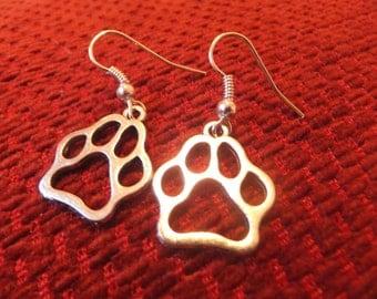 Tibetan Silver Paw Print Earrings Kitty Cat Dog Wolf Cosplay Kawaii Cute Neko Pet Play BDSM