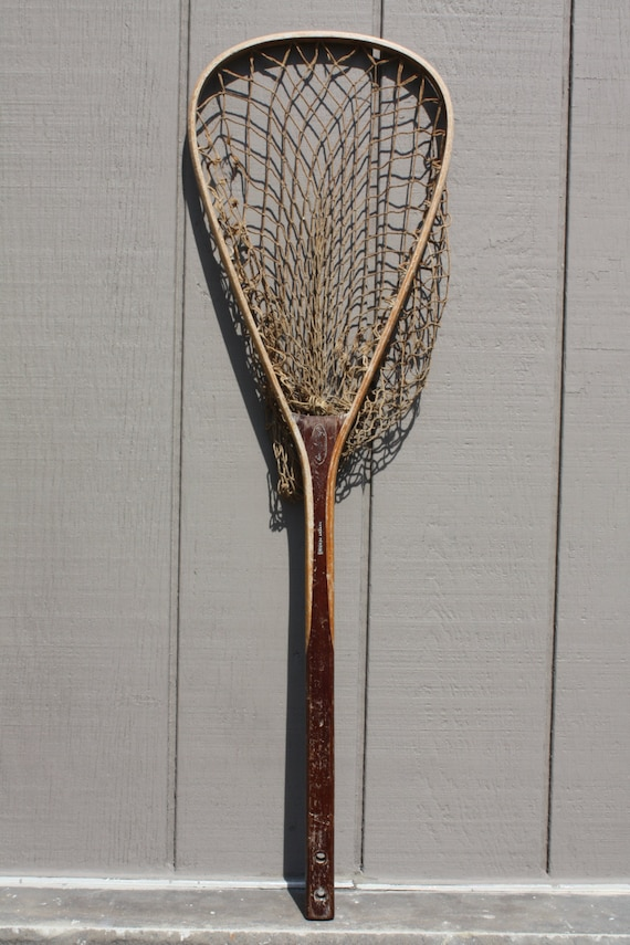 Vintage signed jim haney 36 long handled by thecopperdaisy for Long handle fishing net