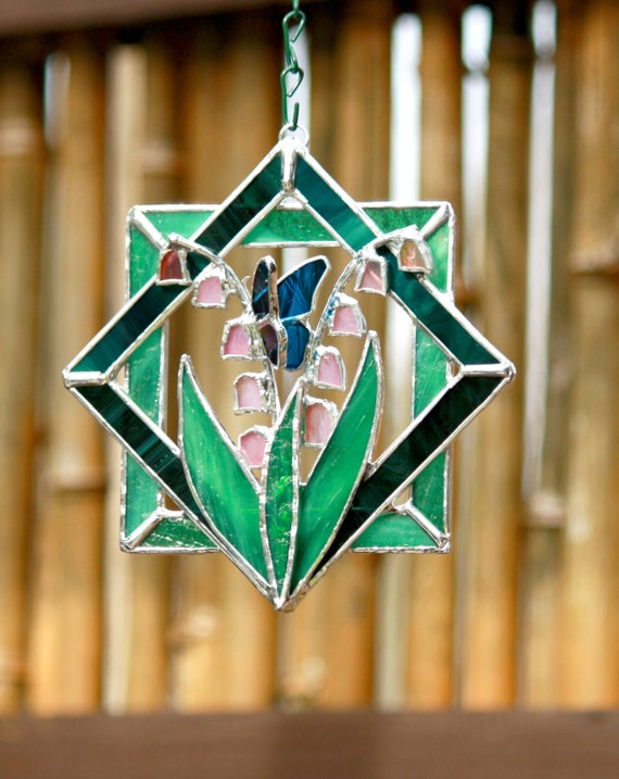 Stained Glass Suncatcher Lily Of The Valley With Blue