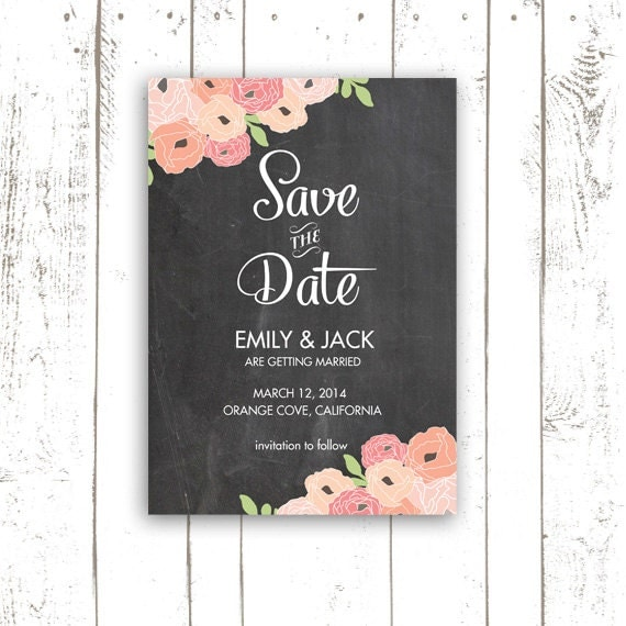 Chalkboard Save The Date, Vintage Chalkboard Save The Date Cards,  Pink Flower Wedding Cards