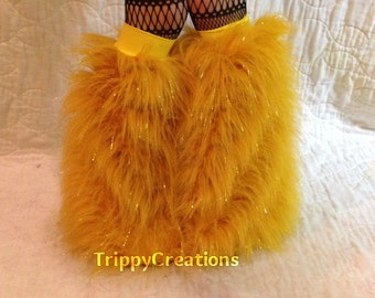 Fluffies long yellow glitter  fluffie leg warmers. Great for raves, festivals, and gogo dancers.